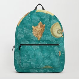 Dancing Shells Turquoise Watercolor Splashes Backpack