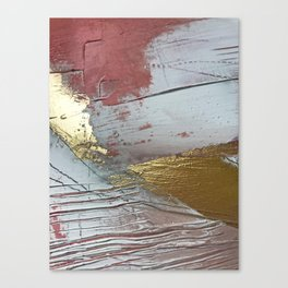 Darling [2]: a minimal, abstract mixed-media piece in pink, white, and gold by Alyssa Hamilton Art Canvas Print