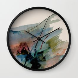 Begin again [2]: an abstract mixed media piece in a variety of colors Wall Clock