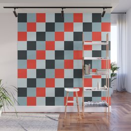 Stainless steel knife - Pixel patten in light gray , light blue and red Wall Mural