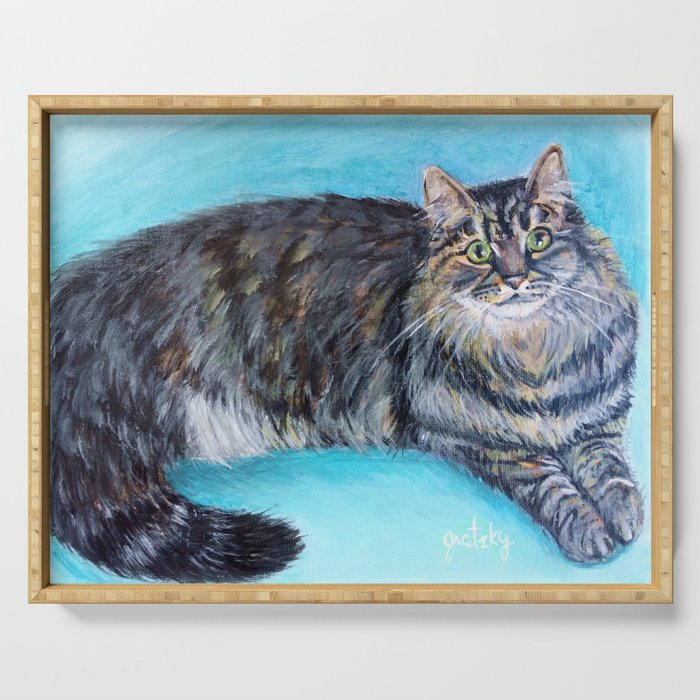 Munchkin tabby cat portrait Serving Tray