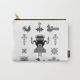 folk embroidery, Collection of flowers, birds, peacocks, horse, man, geometric ornaments, symbols e Carry-All Pouch