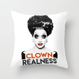 """Clown Realness"" Bianca Del Rio, RuPaul's Drag Race Queen Throw Pillow"