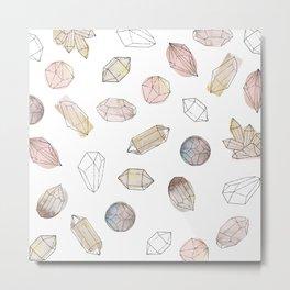 Watercolor Crystals | Healing Crystals Metal Print