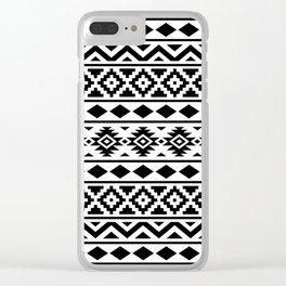 Aztec Essence Ptn III Black on White Clear iPhone Case