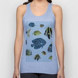 Tropical Fish Pattern - Coastal Beach Unisex Tank Top
