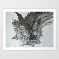 smaug Art Prints featuring Smaug by Jess5_11