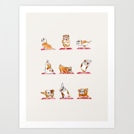 English Bulldog Yoga Watercolor Art Print