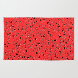 Red safety pins punk glam pattern - punk style - glam fashion Rug