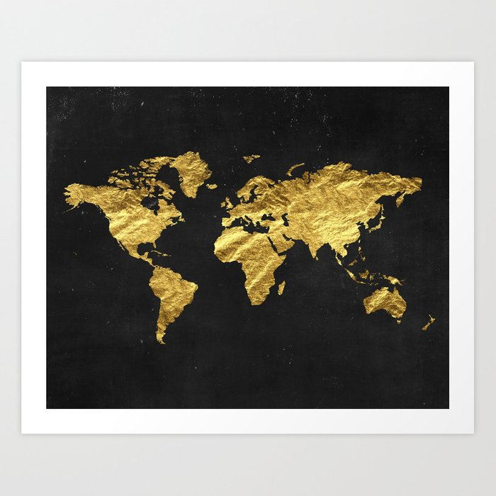 Black Gold Decor, Gold World Map, Office Decor, Bathroom, Glam, Black