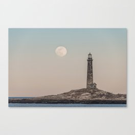 Pink moon rising over Thacher Island Canvas Print
