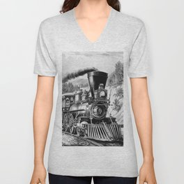 The Express Train 1870 Unisex V-Neck
