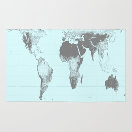 World Map : Gall Peters Aqua Rug
