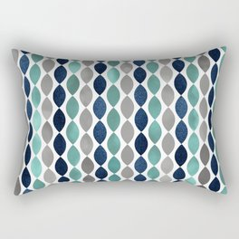 Oval Stripes Aqua and Navy Rectangular Pillow