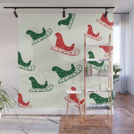 Sled Pattern Green and Red on a Ivory Background Wall Mural