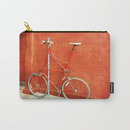 Red Tall Bike Against Brick Wall Carry-All Pouch