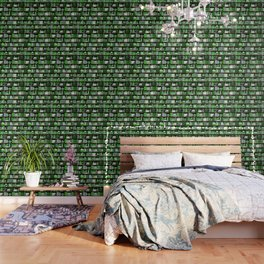 Book Case Pattern - Green and Grey Wallpaper