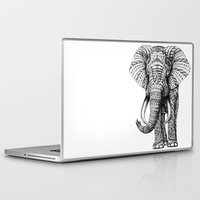 black widow Laptop & iPad Skins featuring Ornate Elephant by BIOWORKZ