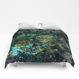 Gold Indigo Malachite Marble Comforters