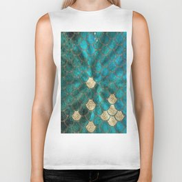 Multicolor Aqua And Gold Mermaid Scales -  Beautiful Abstract Pattern Biker Tank