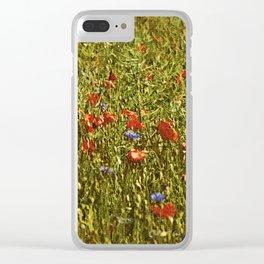 Sommerfeld MIT roten und blauen Blumen Clear iPhone Case