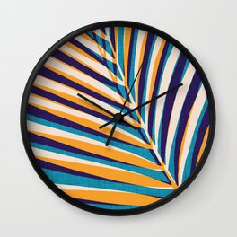 Gold and Navy Abstract Palm Frond Wall Clock