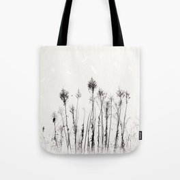 Dried Tall Plants and Flying White Birds Tote Bag