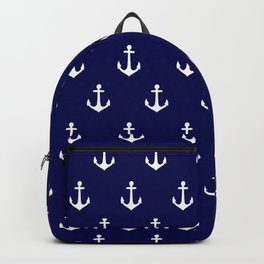 Maritime Nautical Blue and White Anchor Pattern Backpack