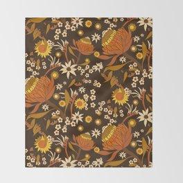 Australian Natives Wattle Gold Throw Blanket