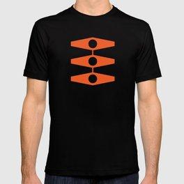 abstract eyes pattern orange tan T-shirt