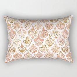 PAISLEY MERMAID Rose Gold Fish Scales Rectangular Pillow