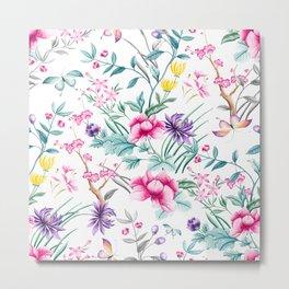 Chinoiserie Decorative Floral Motif Metal Print