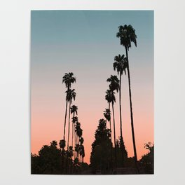 California Sunset // Palm Tree Silhouette Street View Orange and Blue Color Sky Beach Photography Poster