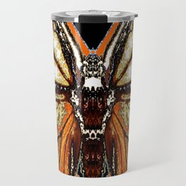RIBBED WHITE BROWN & BLACK BUTTERFLY WING VEINS Travel Mug