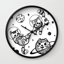 Kitty Cats Flying in Space - Kittens Wall Clock