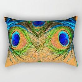 ORANGE BLUE-GREEN PEACOCK FEATHERS ART Rectangular Pillow