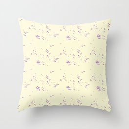 floral pattern violet roses on vanilla background Throw Pillow