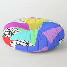 Bits And Pieces - Retro, random, abstract pattern Floor Pillow