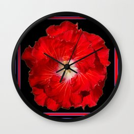 Tropical Red Hibiscus Flower on Black Wall Clock