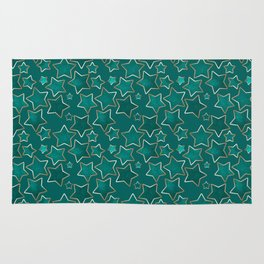 Green faded stars on a blue background . Rug