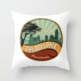 Philadelphia City Skyline Pennsylvania Retro Vintage Design Throw Pillow