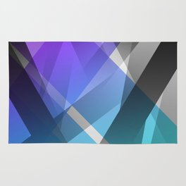 Transparent Abstract Geometric Shapes Purple and Teal Rug