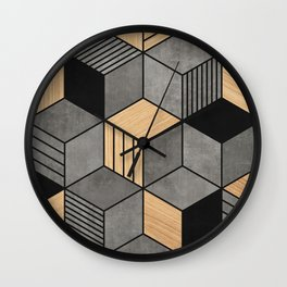 Concrete and Wood Cubes 2 Wall Clock