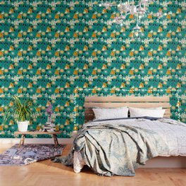 Mid-century pattern with bunnies Wallpaper