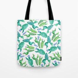 Watercolor hand painted violet green cactus floral Tote Bag