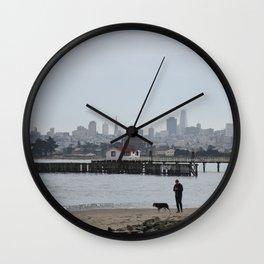 Dog Walking in San Francisco Crissy Field Wall Clock