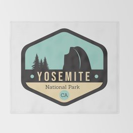 Yosemite National Parks Badge Throw Blanket