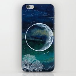 Crescent Moon Mixed Media Painting iPhone Skin