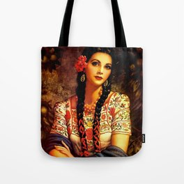 Jesus Helguera Painting of a Mexican Calendar Girl with Braids Tote Bag