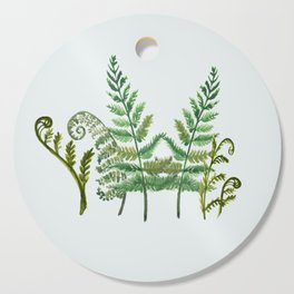 Fern Collage with Light Blue Gray Background Cutting Board